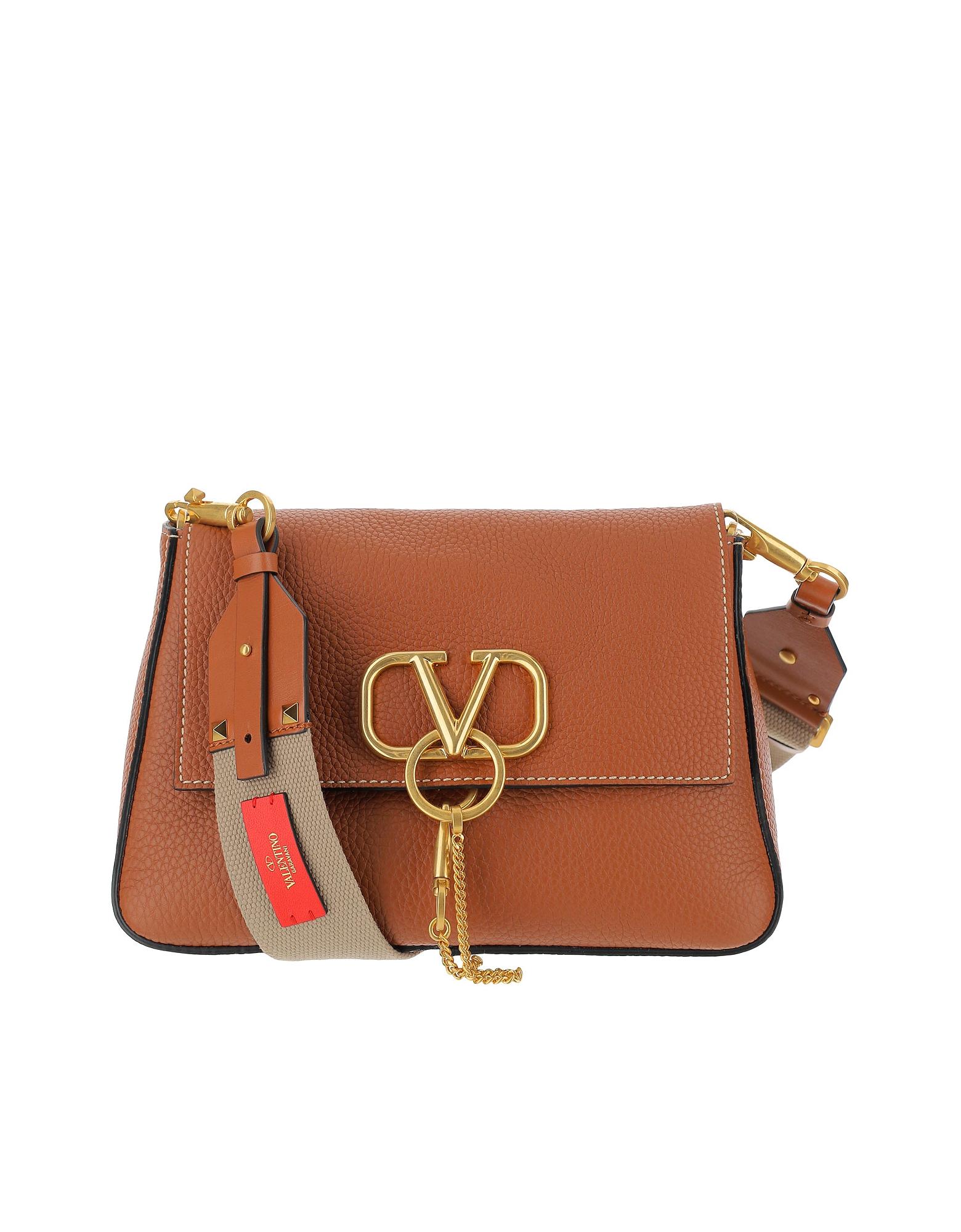 Valentino Designer Handbags, Hammered Leather Vring Shoulder Bag