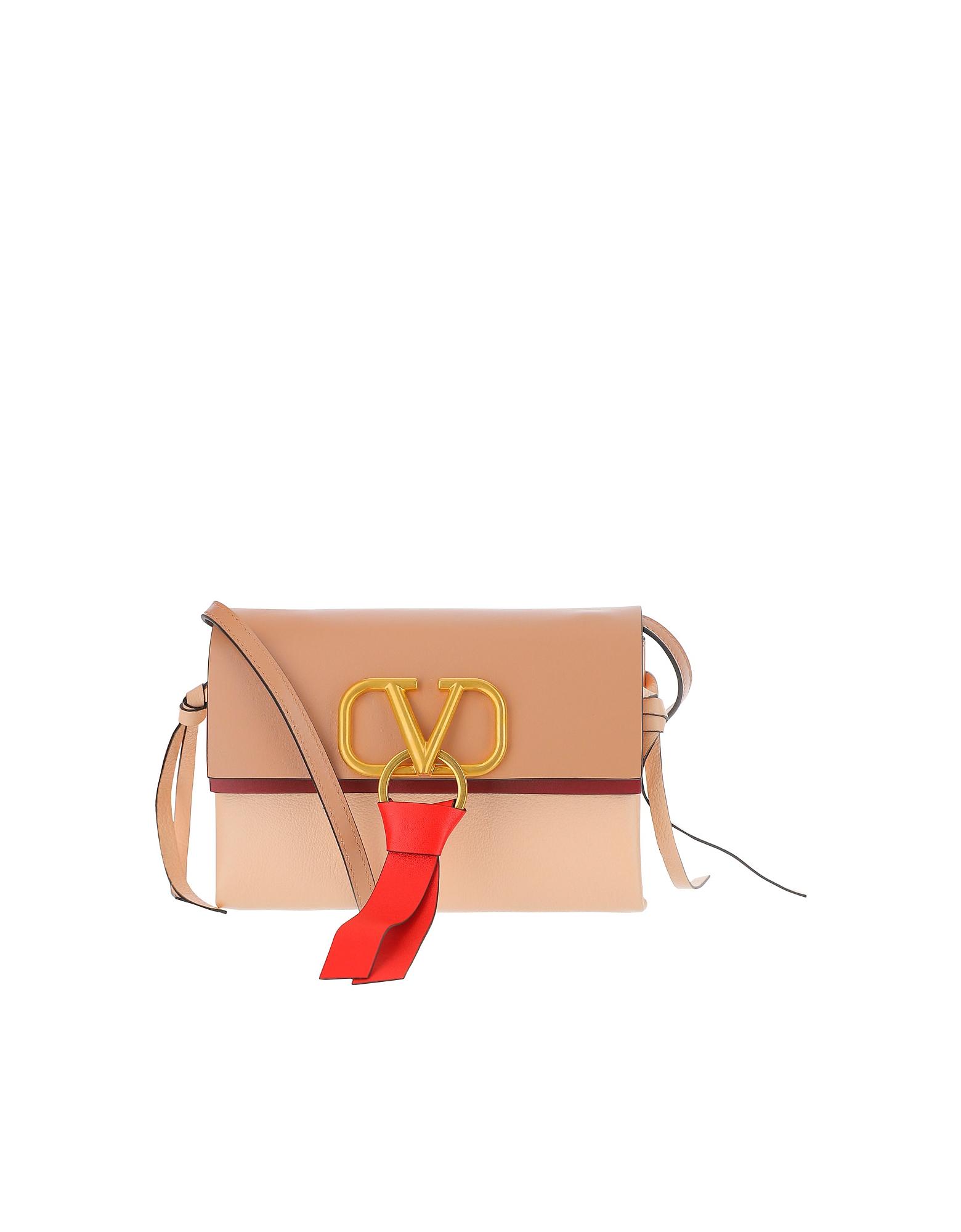 Valentino Designer Handbags, V-Ring Logo Leather Shoulder Bag