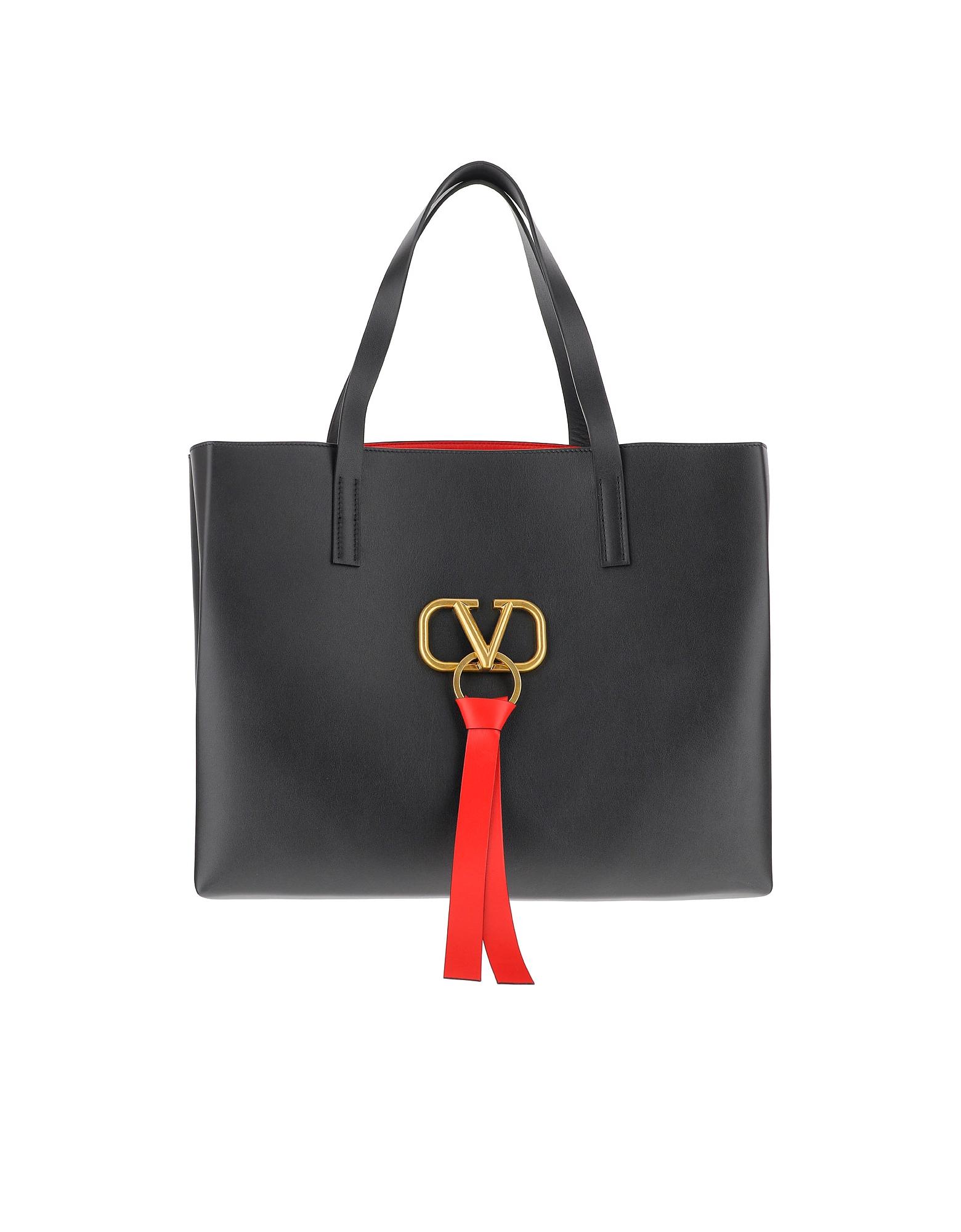 Valentino Designer Handbags, V-Ring Black Leather Tote Bag