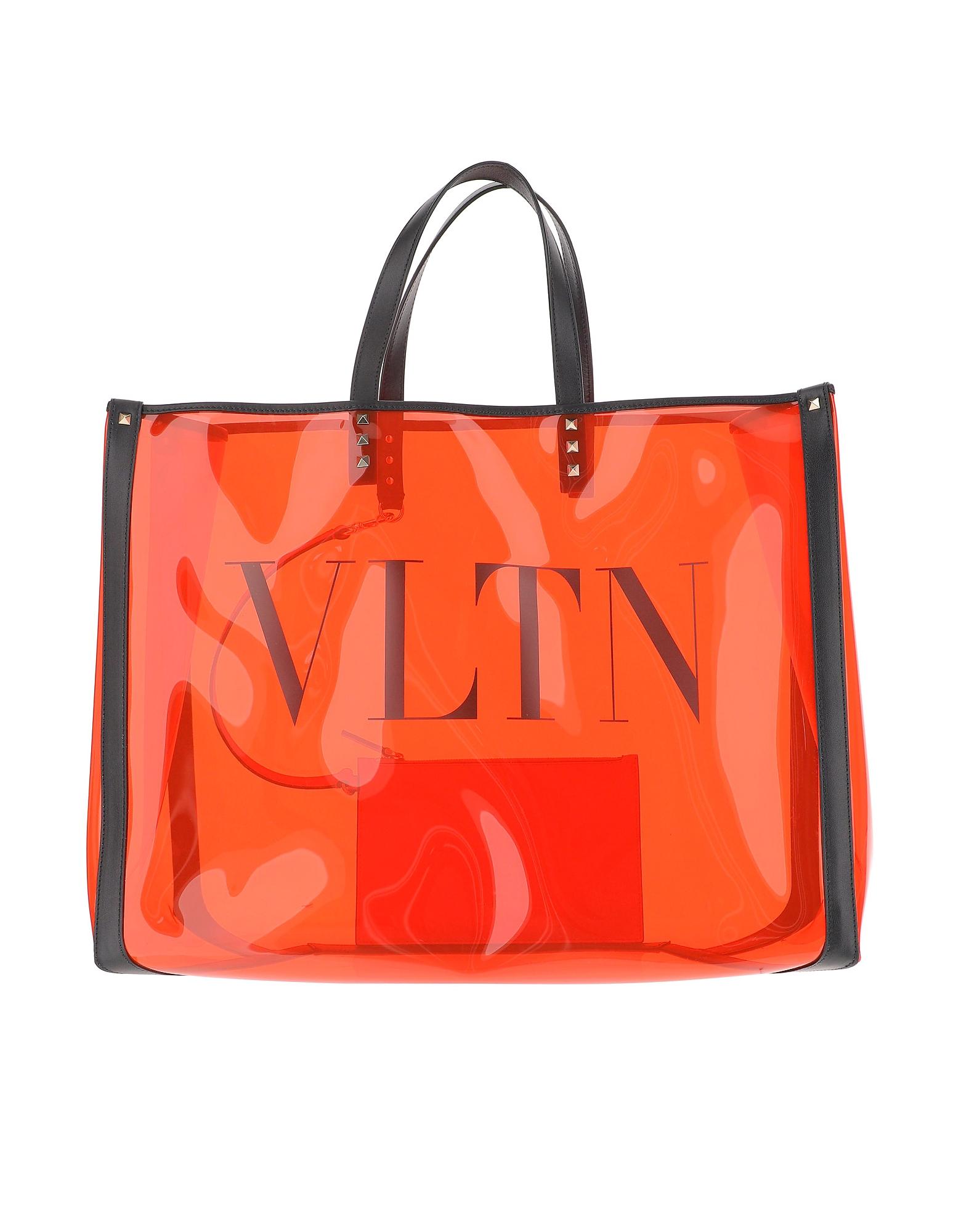 Valentino Designer Handbags, Transparent Orange PVC Multicolor bag