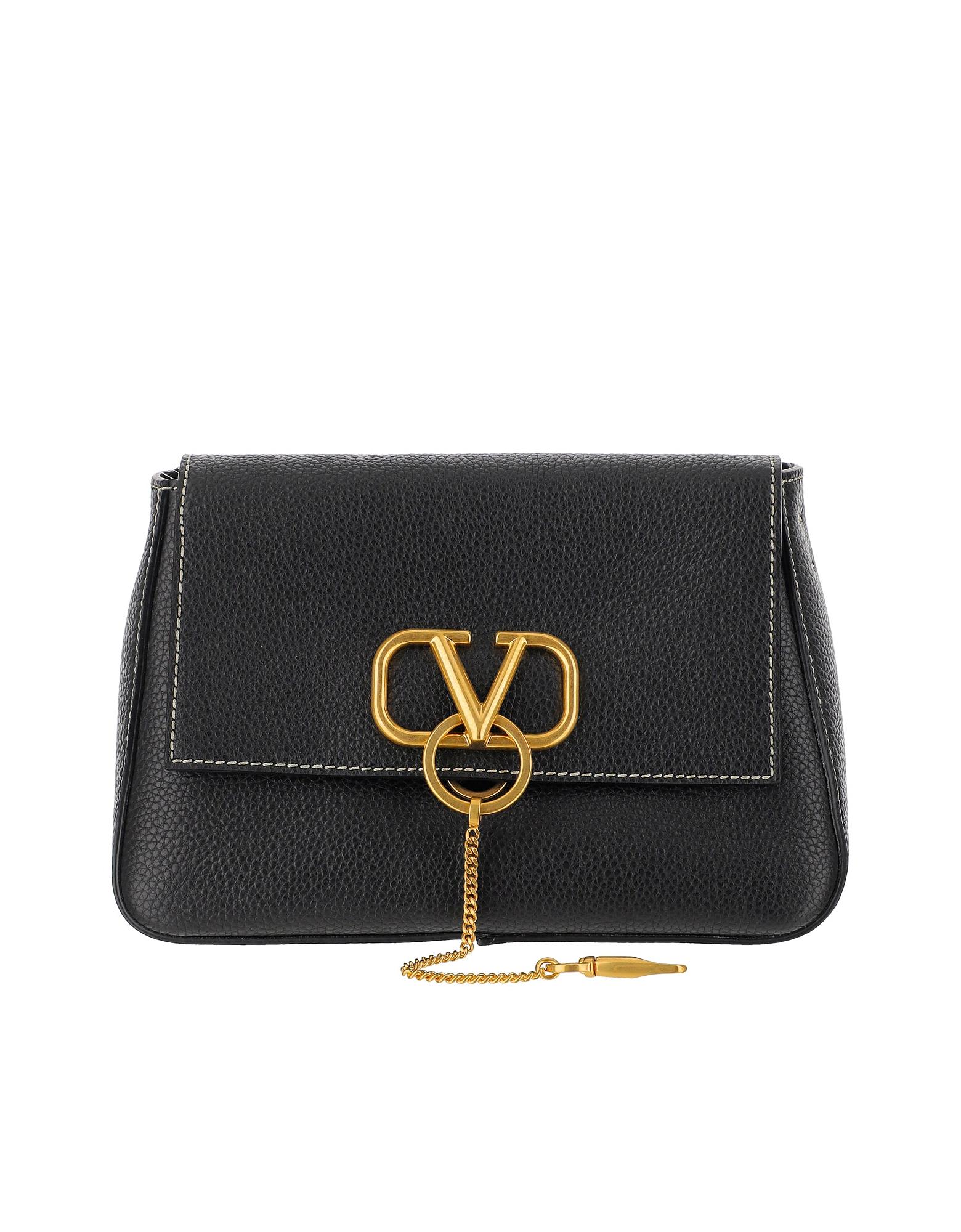 Valentino Designer Handbags, Black Leather VLogo Shoulder Bag