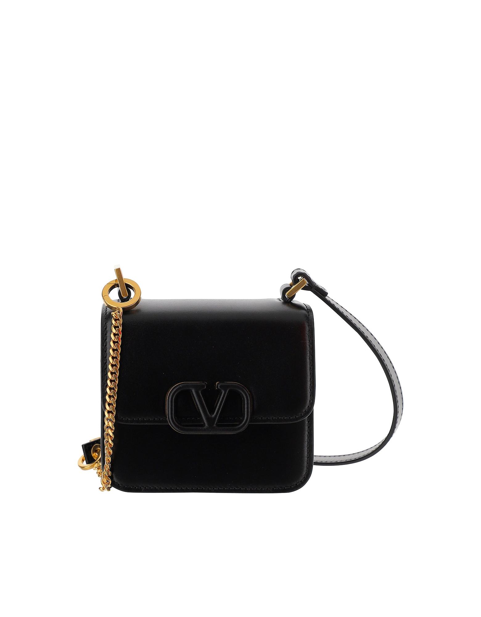 Valentino Designer Handbags, Black Leather VSling Mini bag
