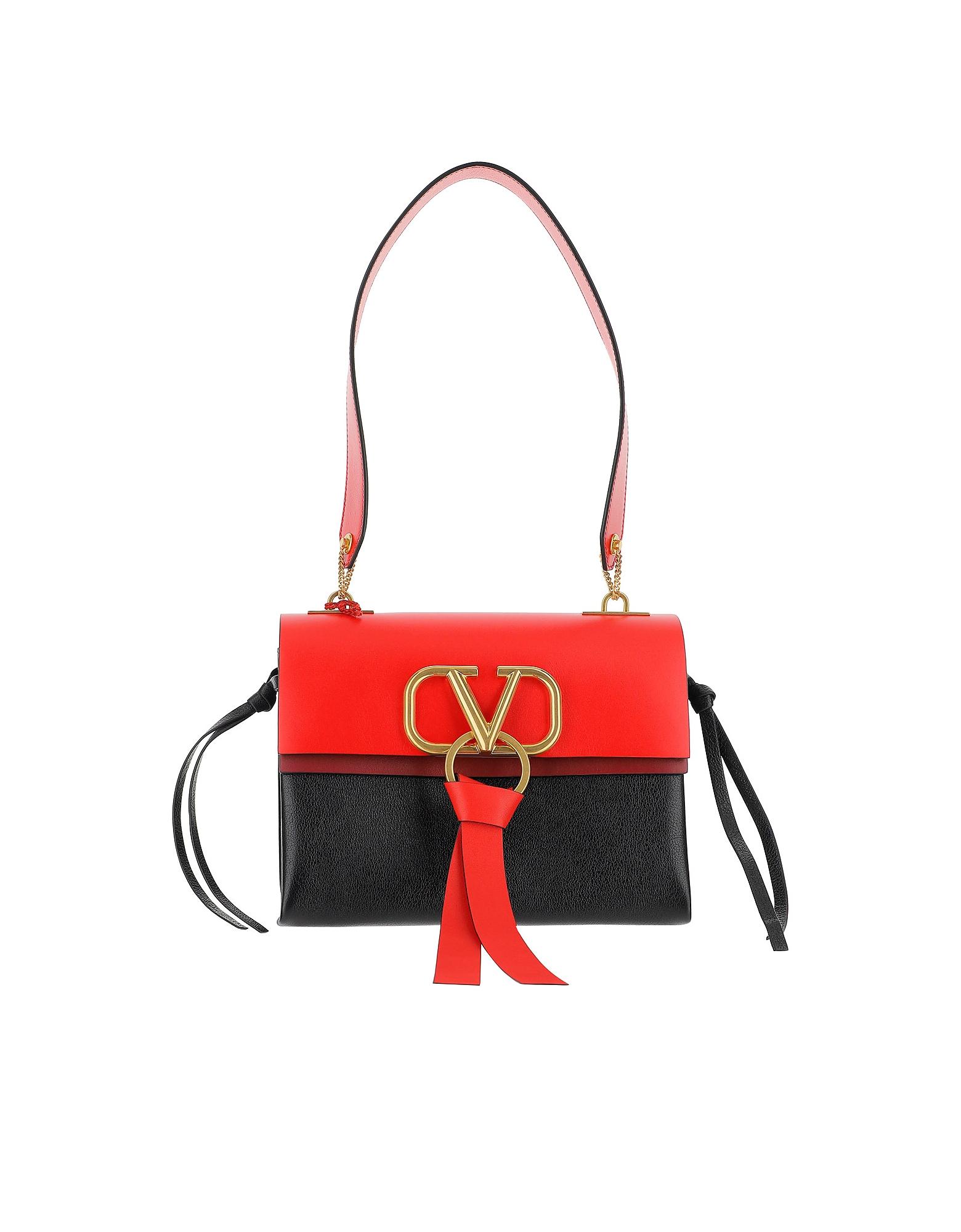 Valentino Designer Handbags, Black and Red VRing Shoulder Bag