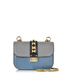 Small Pebble Gray, Avion Blue and Black Leather Shoulder Bag - Valentino