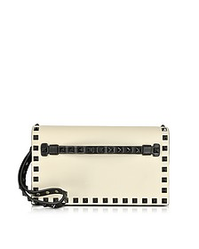 Rockstud Black & Light Ivory Leather Small Clutch - Valentino