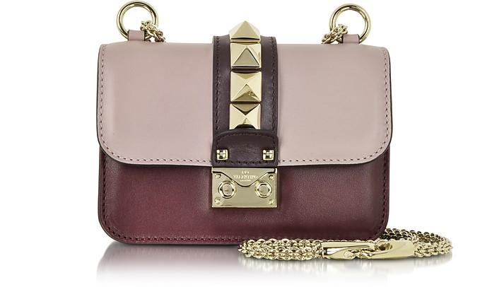Mini Grey Pink, Crimson and Griotte Leather Shoulder Bag - Valentino