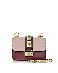 Mini Grey Pink, Crimson and Griotte Leather Shoulder Bag - Valentino