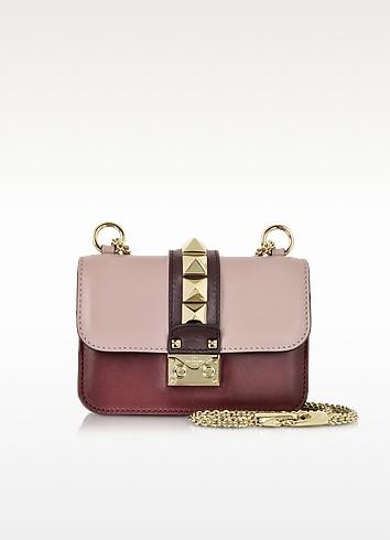 迷你灰粉红色,深红和Griotte真皮单肩包 - Valentino Garavani