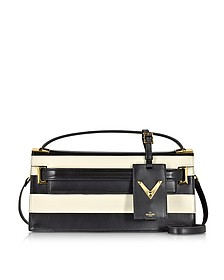 My Rockstud Light Ivory & Black Leather Clutch - Valentino