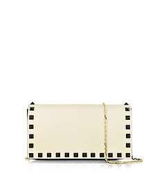 Black & Light Ivory Leather Pouch - Valentino