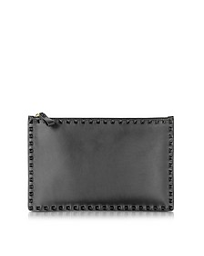 Black & Light Ivory Leather Large Flat Pouch - Valentino