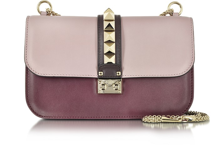 Grey Pink, Crimson and Griotte Leather Medium Shoulder Bag - Valentino