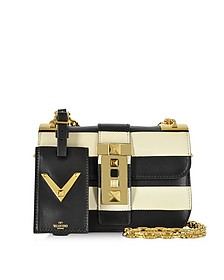 My Rockstud Black & Light Ivory Leather Shoulder Bag - Valentino
