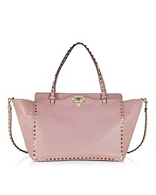Rockstud Grey Pink Leather Medium Tote - Valentino