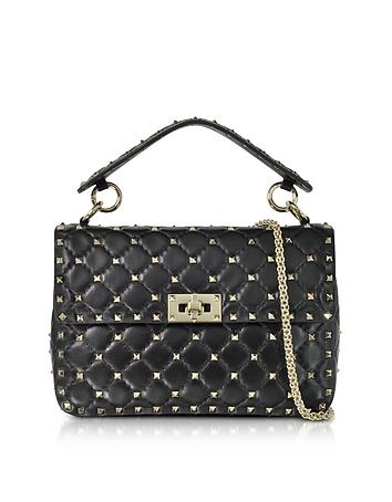 Black Quilted Leather Rockstud Spike Medium Shoulder Bag