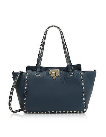 Rockstud Peacock Leather Satchel Bag