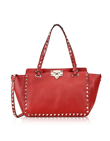 Red Rockstud Leather Small Bag
