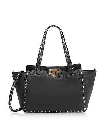 Black Rockstud Leather Small Bag