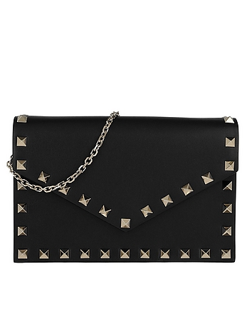 Rockstud Envelope Shoulder Bag Leather Black