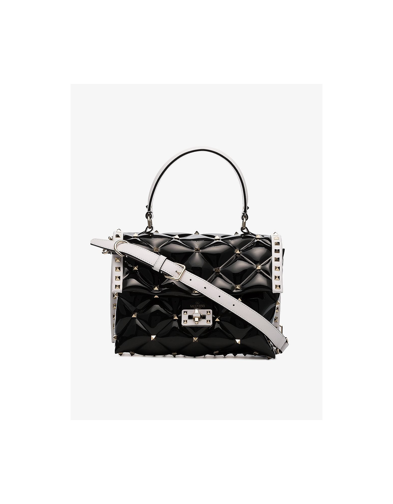 Valentino Designer Handbags, Black and White Candystud PVC Shoulder Bag