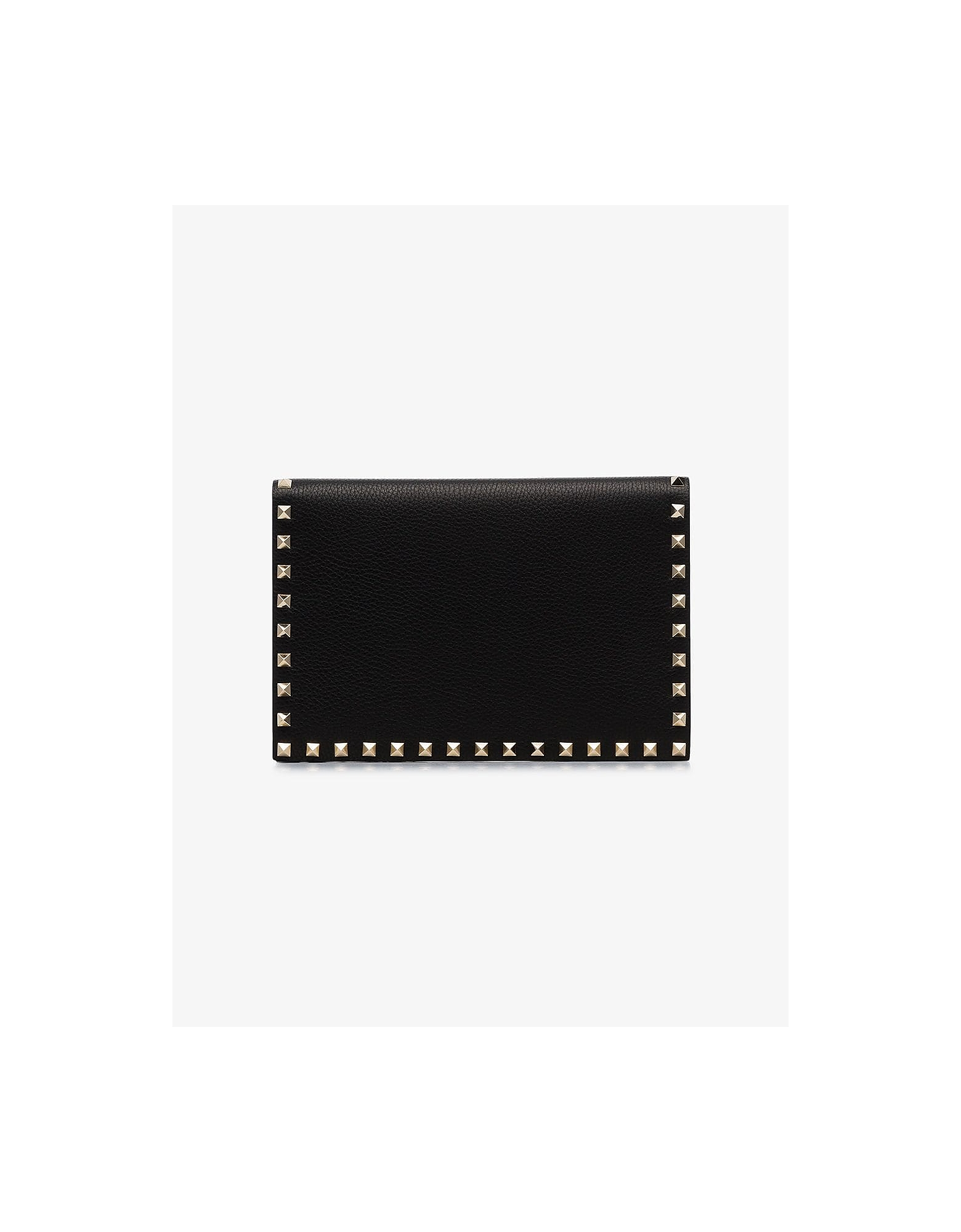 Valentino Designer Handbags, Black garavani rockstud leather clutch bag