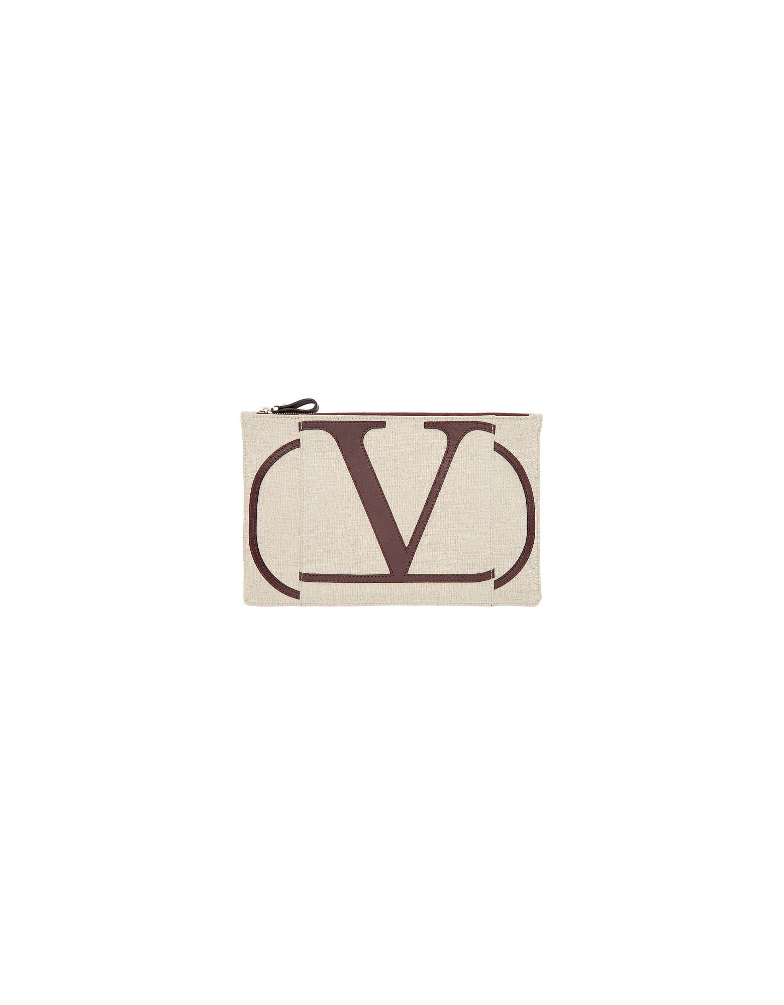 Valentino Designer Handbags, Beige Valentino Garavani Large VLogo Pouch