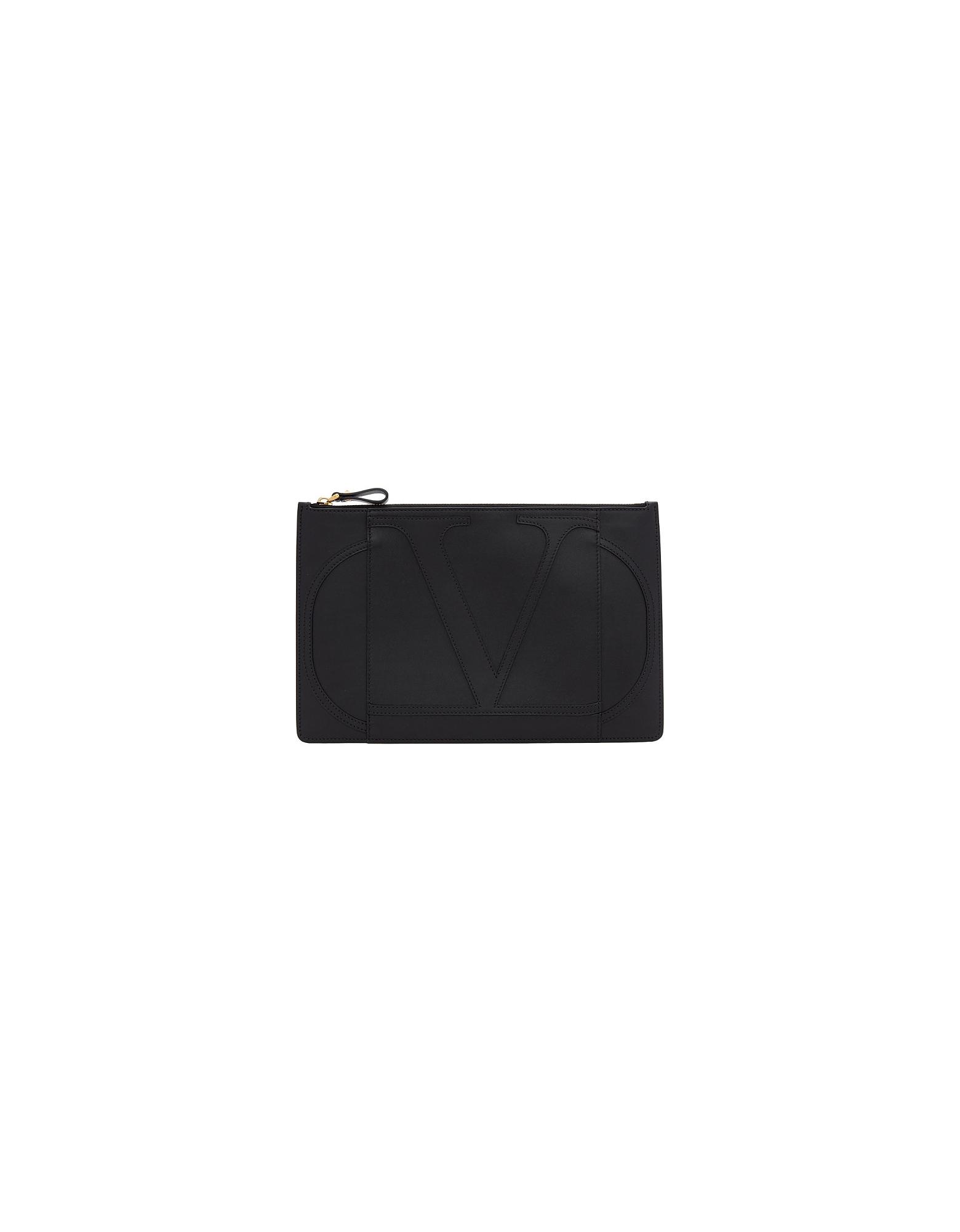 Valentino Designer Handbags, Black Valentino Garavani Large VLogo Pouch