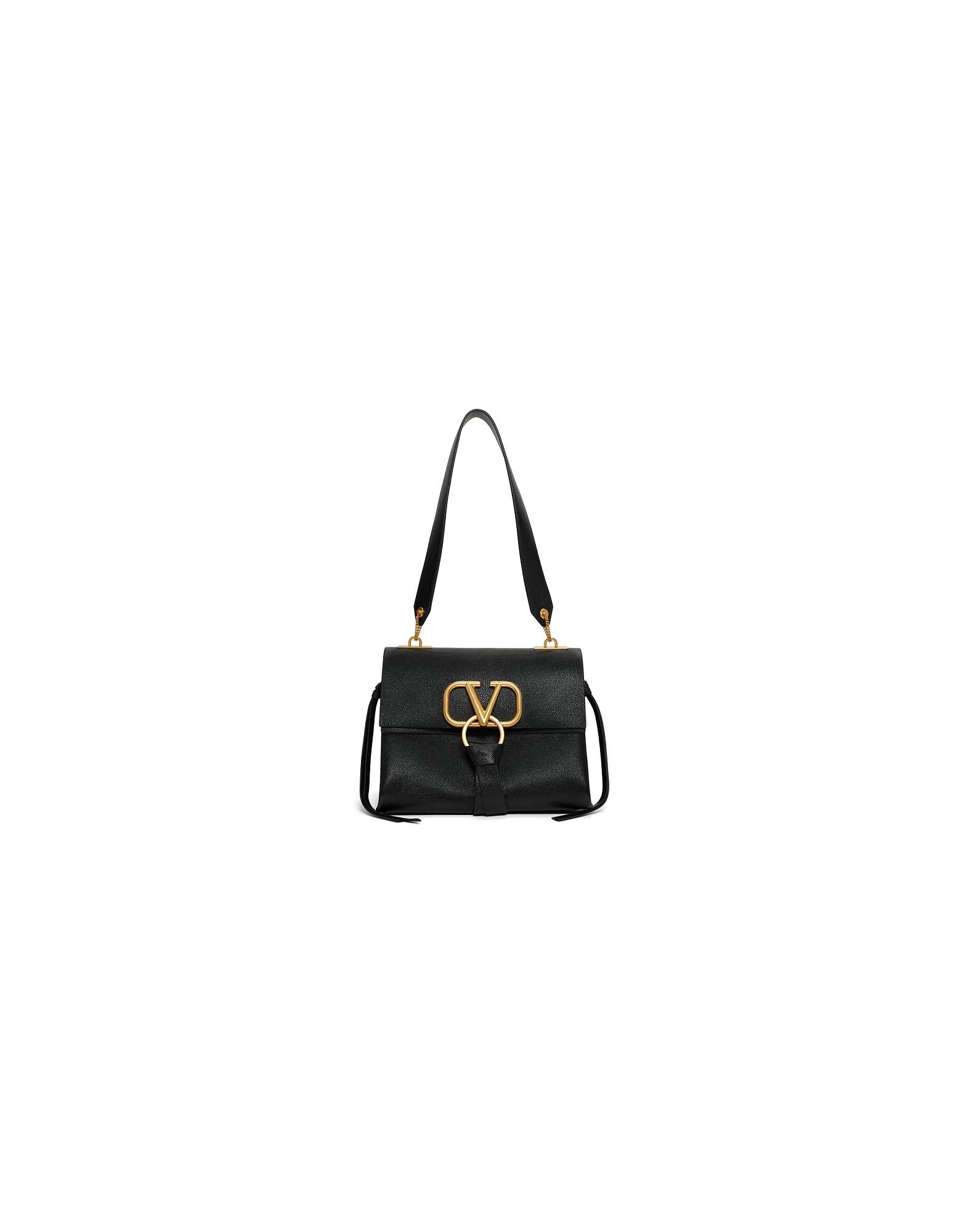 Valentino Designer Handbags, Black Valentino Garavani Small VRing Shoulder Bag