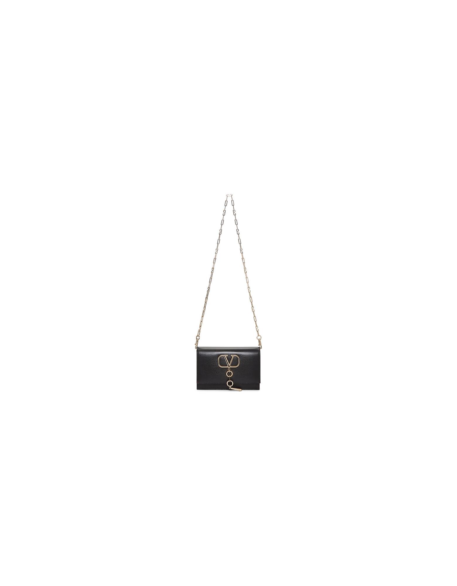 Valentino Designer Handbags, Black Valentino Garavani Small VLogo Shoulder Bag