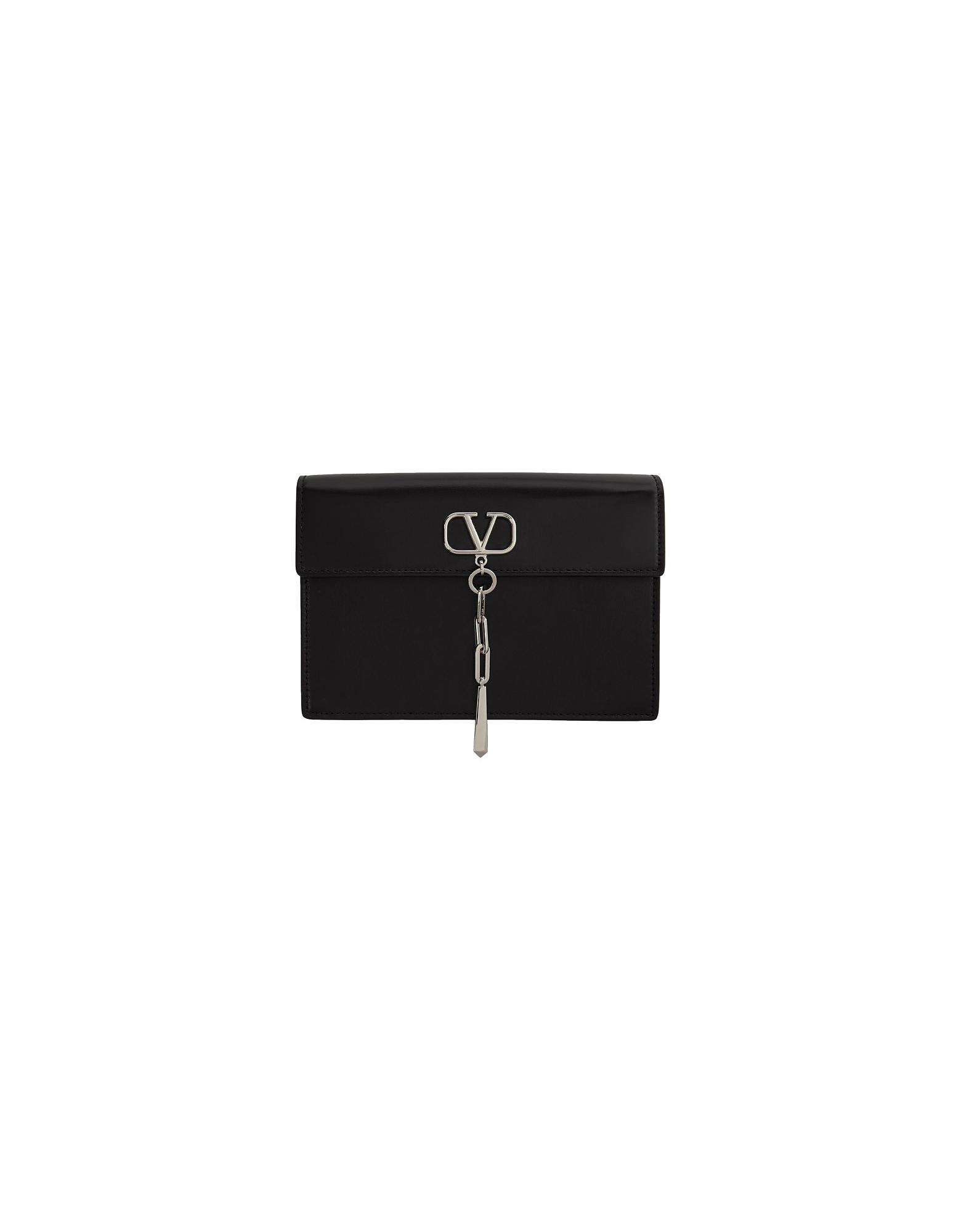 Valentino Designer Handbags, Black Valentino Garavani Small VLogo Pouch