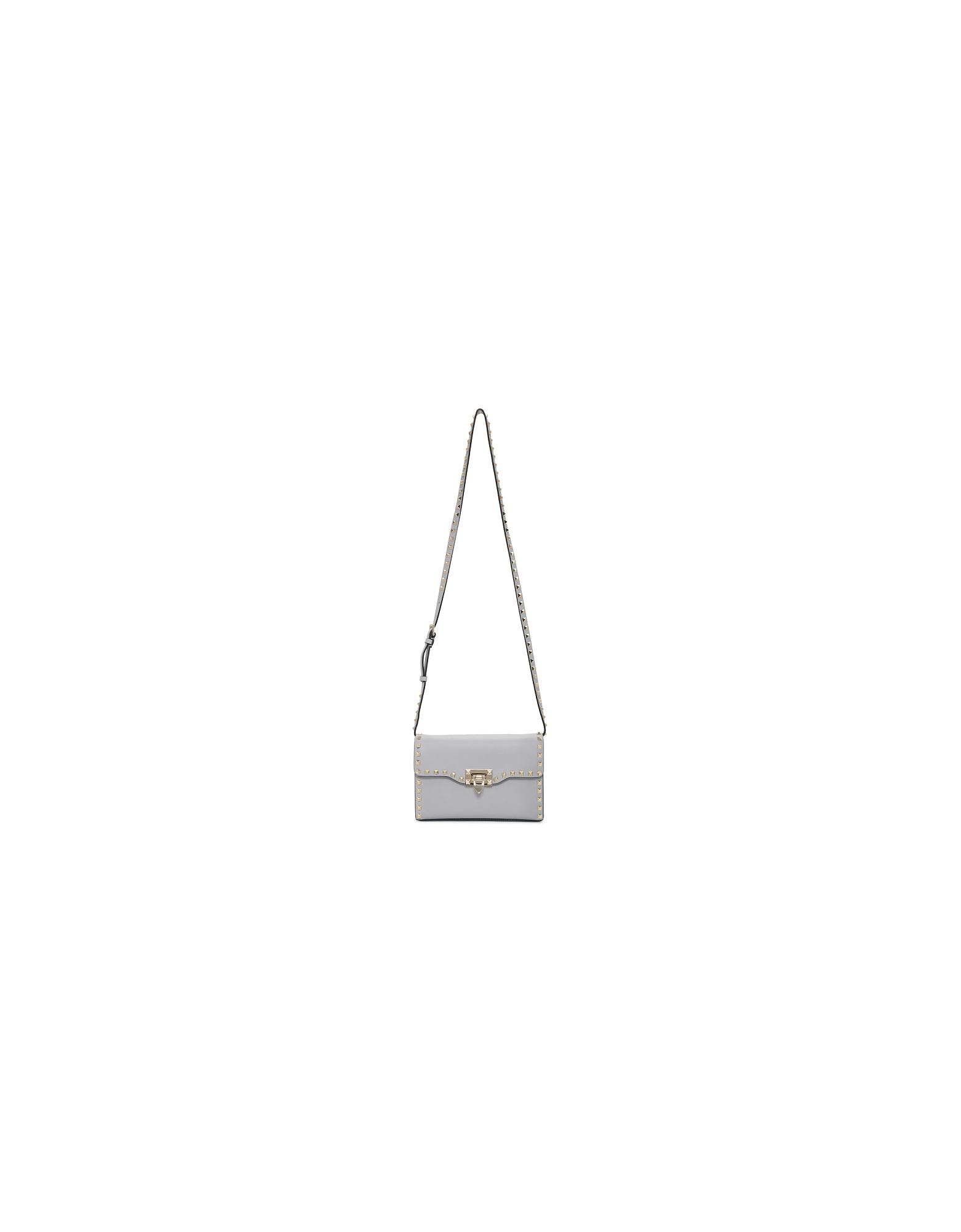 Valentino Designer Handbags, Grey Valentino Garavani Medium Rockstud Flap Bag