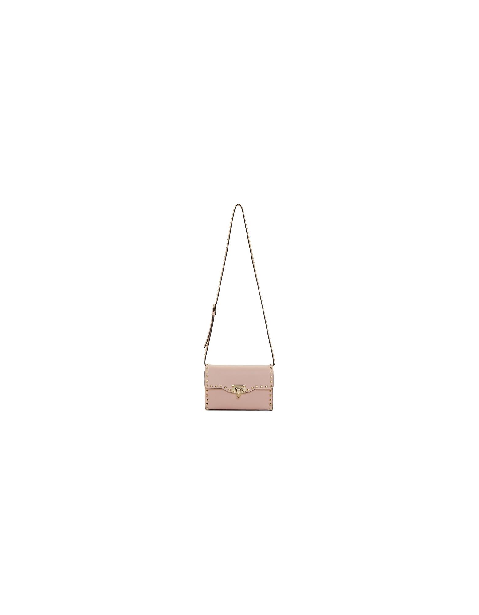 Valentino Designer Handbags, Pink Valentino Garavani Medium Rockstud Flap Bag