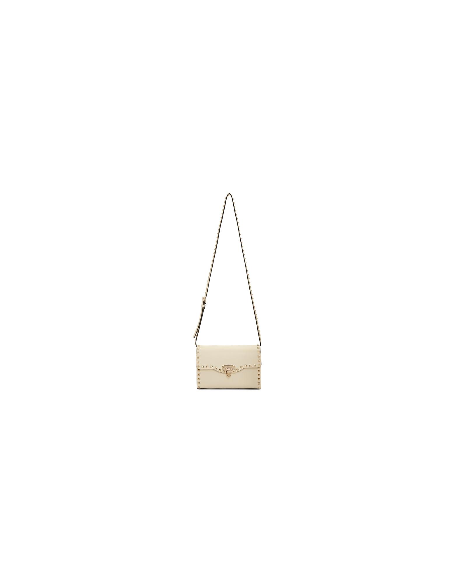 Valentino Designer Handbags, Off-White Valentino Garavani Medium Rockstud Flap Bag