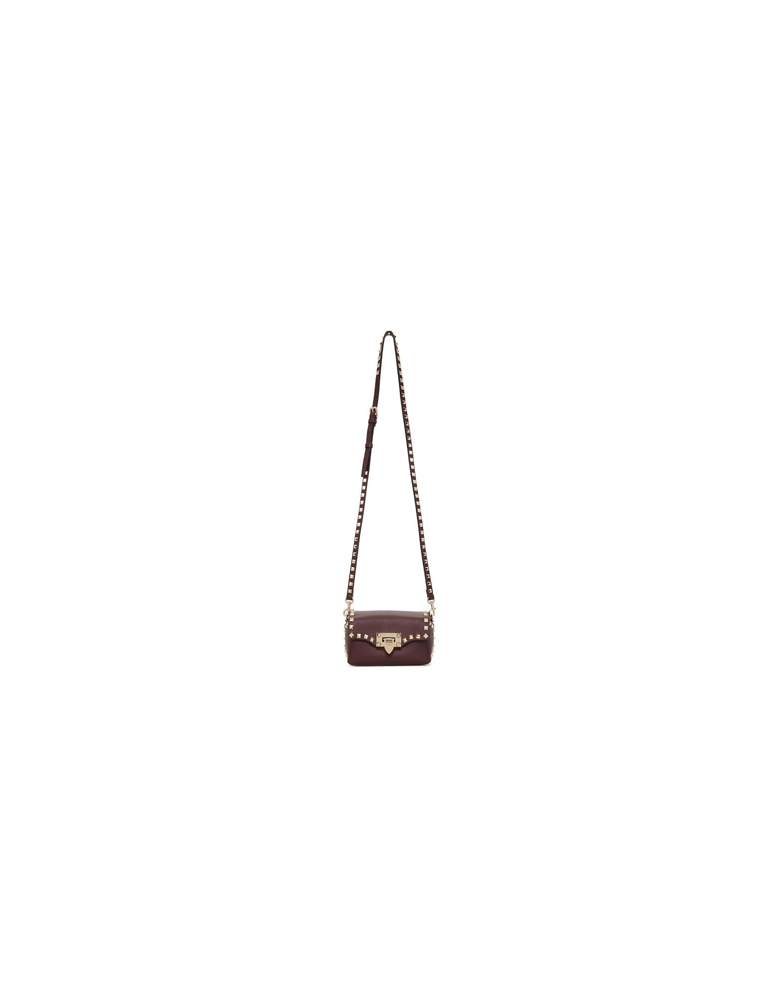 Valentino Designer Handbags, Burgundy Valentino Garavani Mini Rockstud Crossbody Bag