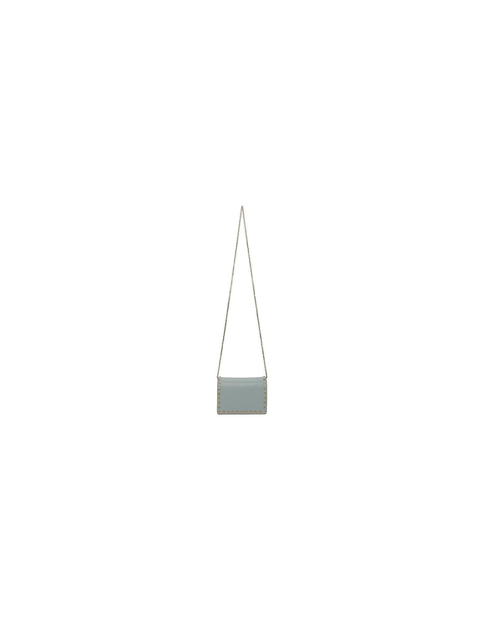 Valentino Designer Handbags, Blue Valentino Garavani Mini Rockstud Bag