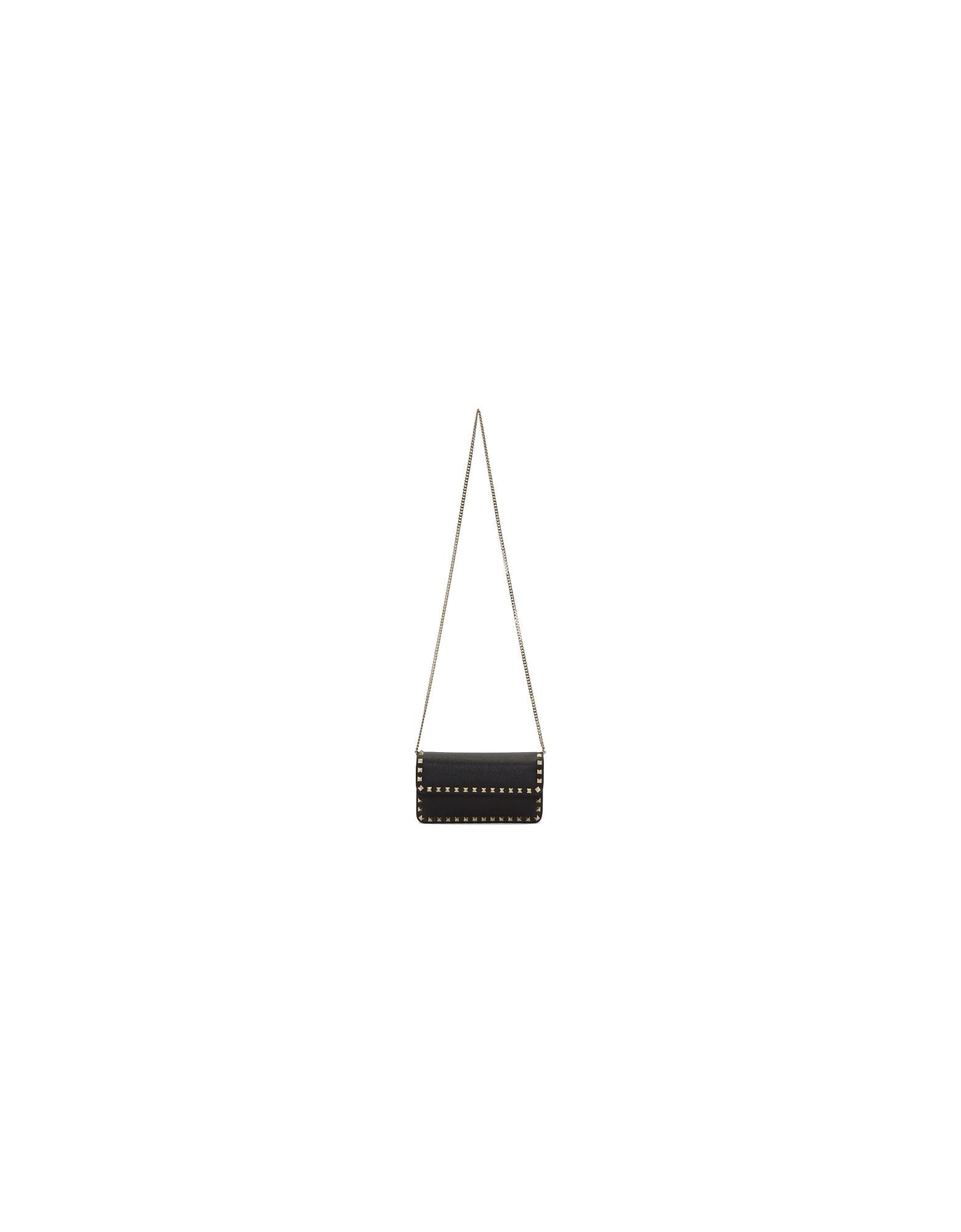 Valentino Designer Handbags, Black Valentino Garavani Rockstud Chain Wallet