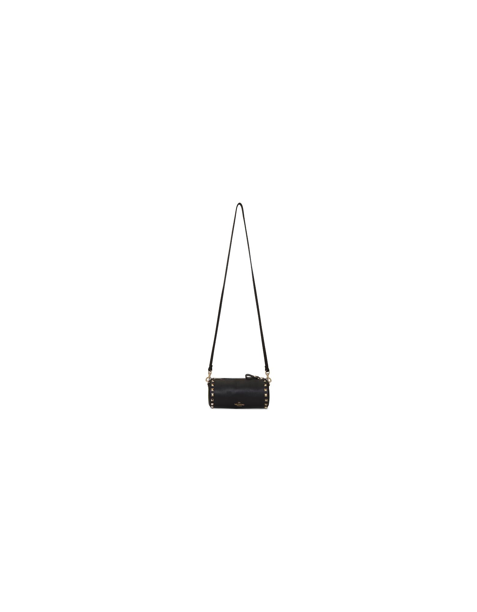 Valentino Designer Handbags, Black Valentino Garavani Rockstud Cylinder Shoulder Bag