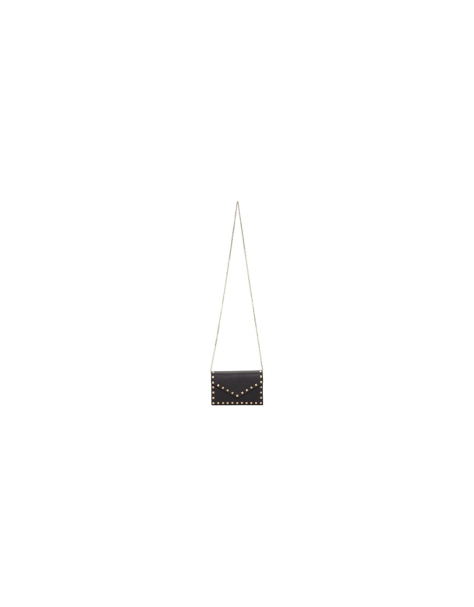 Valentino Designer Handbags, Black Valentino Garavani Rockstud Wallet Chain Bag