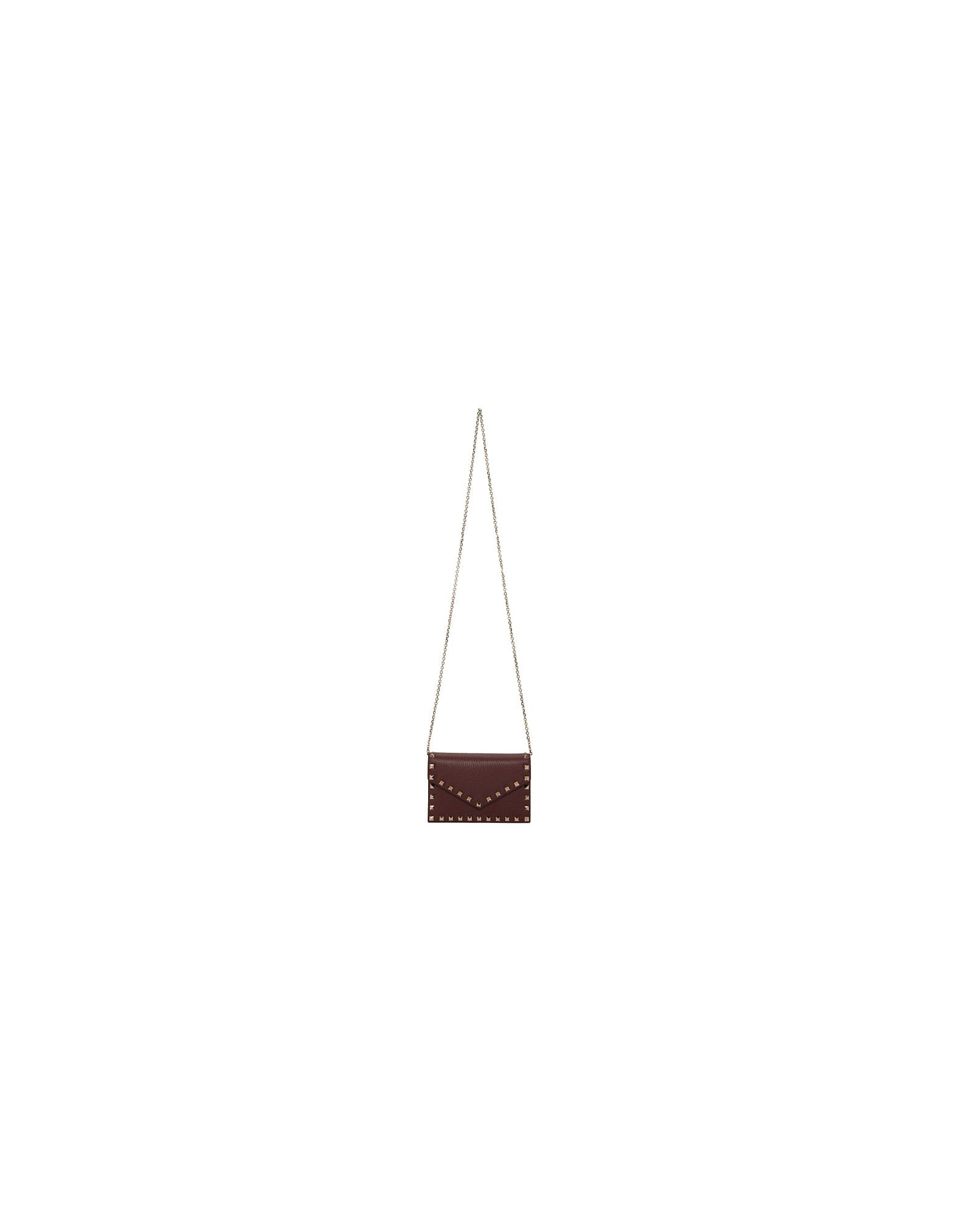 Valentino Designer Handbags, Burgundy Valentino Garavani Rockstud Chain Bag