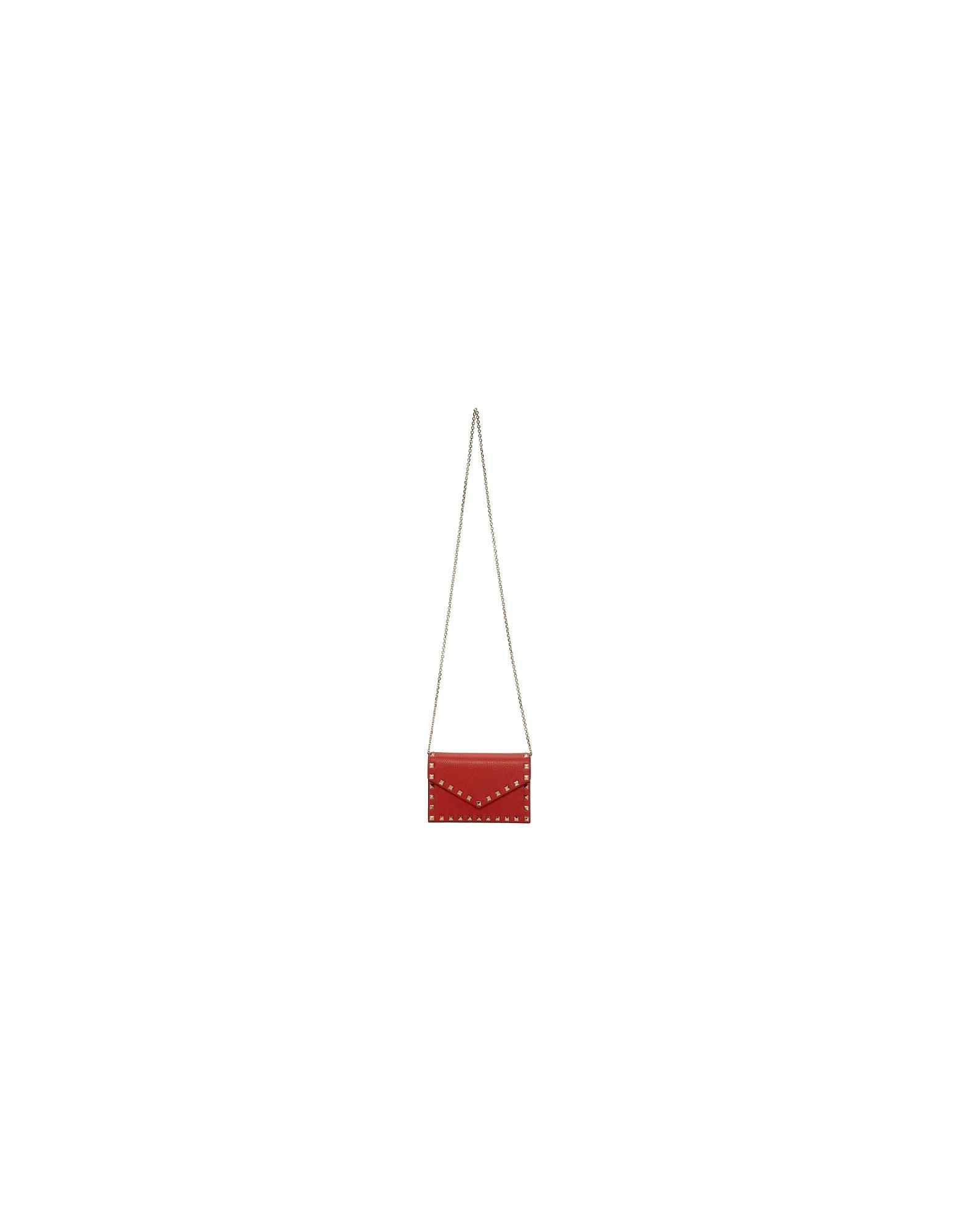 Valentino Designer Handbags, Red Valentino Garavani Grainy Rockstud Chain Bag