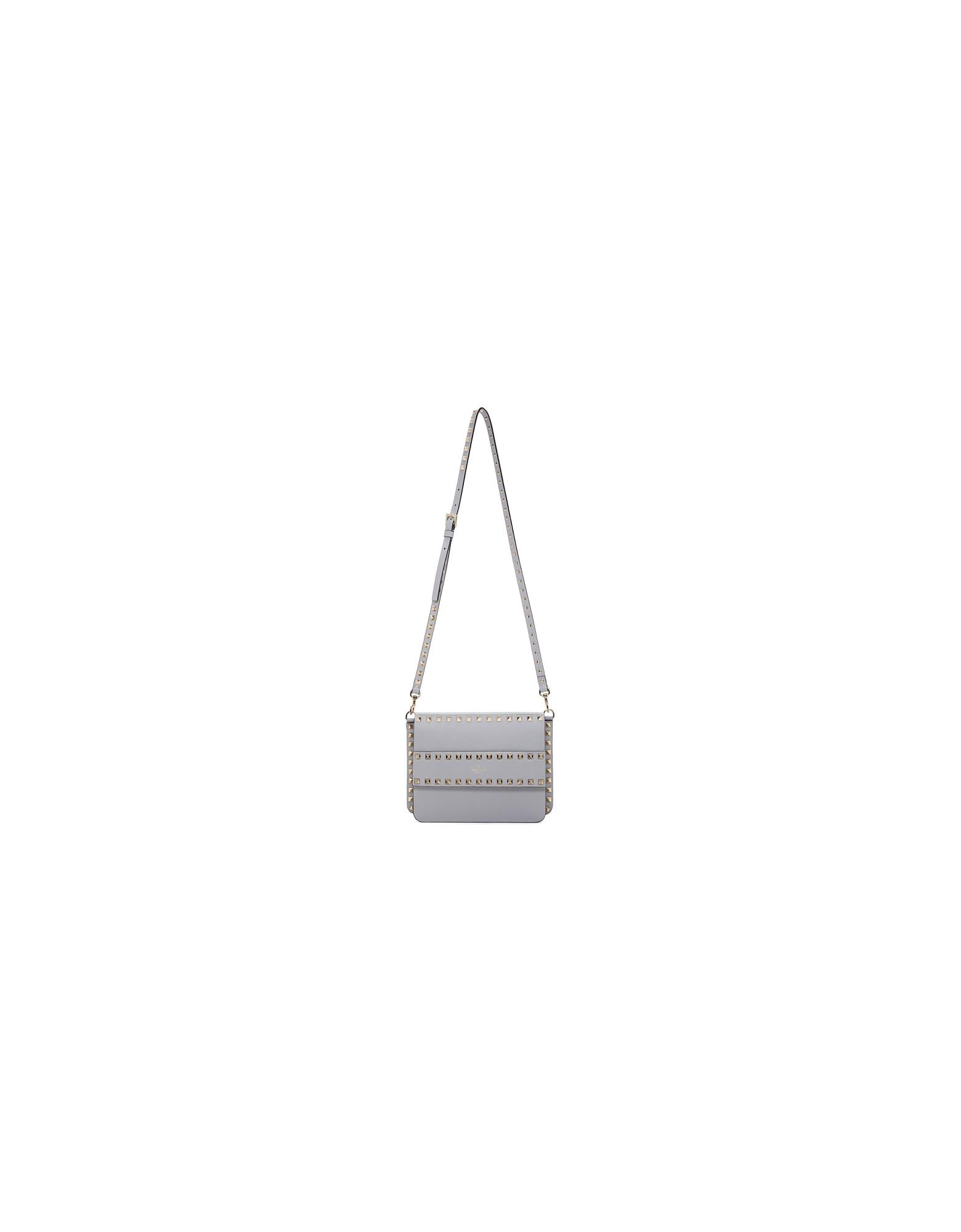 Valentino Designer Handbags, Grey Valentino Garavani Small Rockstud Shoulder Bag