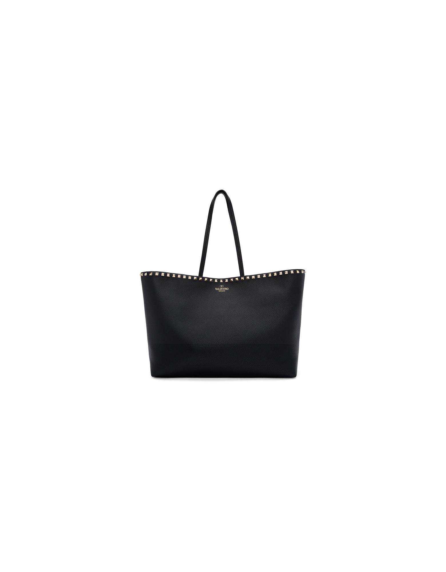 Valentino Designer Handbags, Black Valentino Garavani Rockstud Shopper Tote