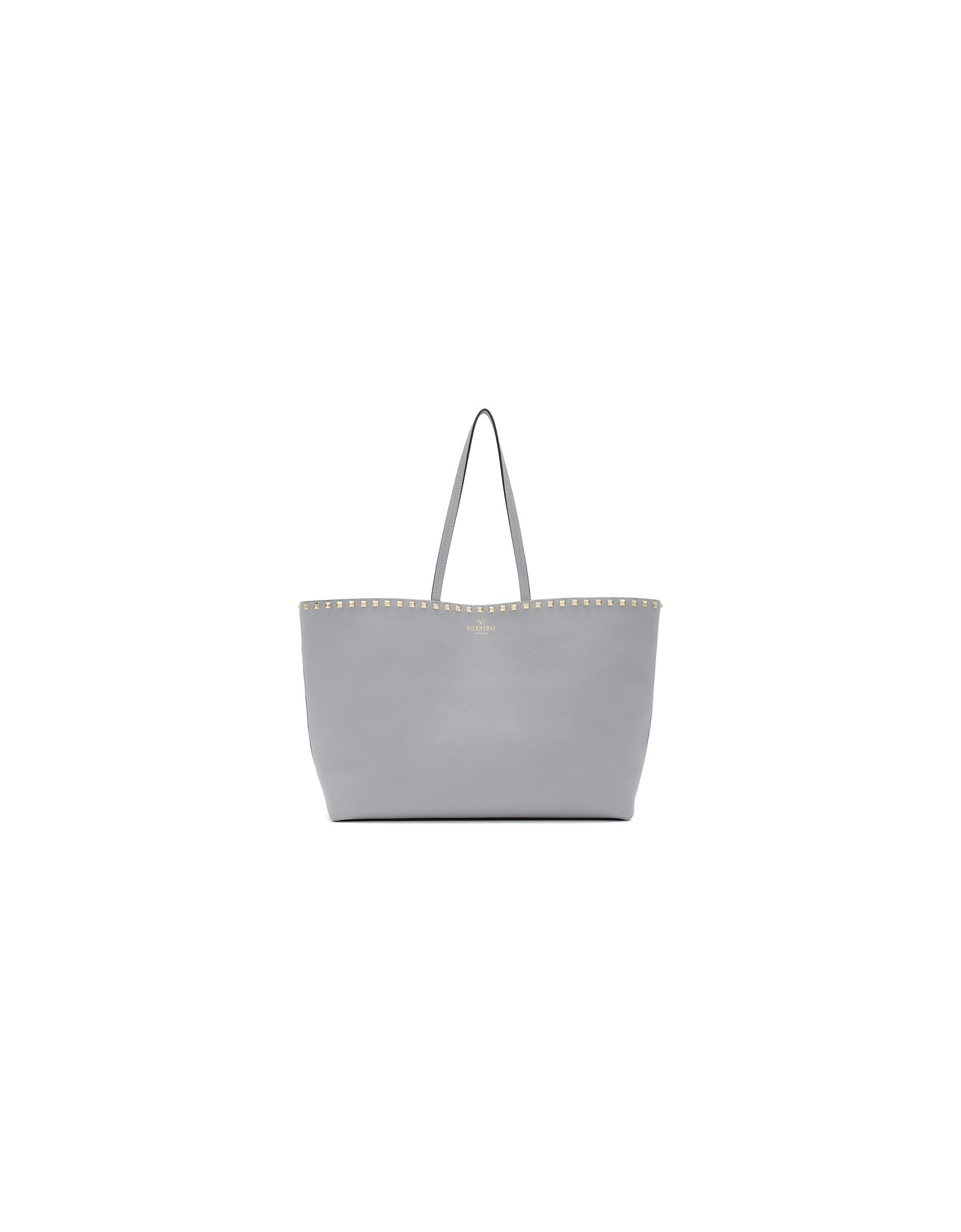 Valentino Designer Handbags, Grey Valentino Garavani Small Rockstud Shopper Tote