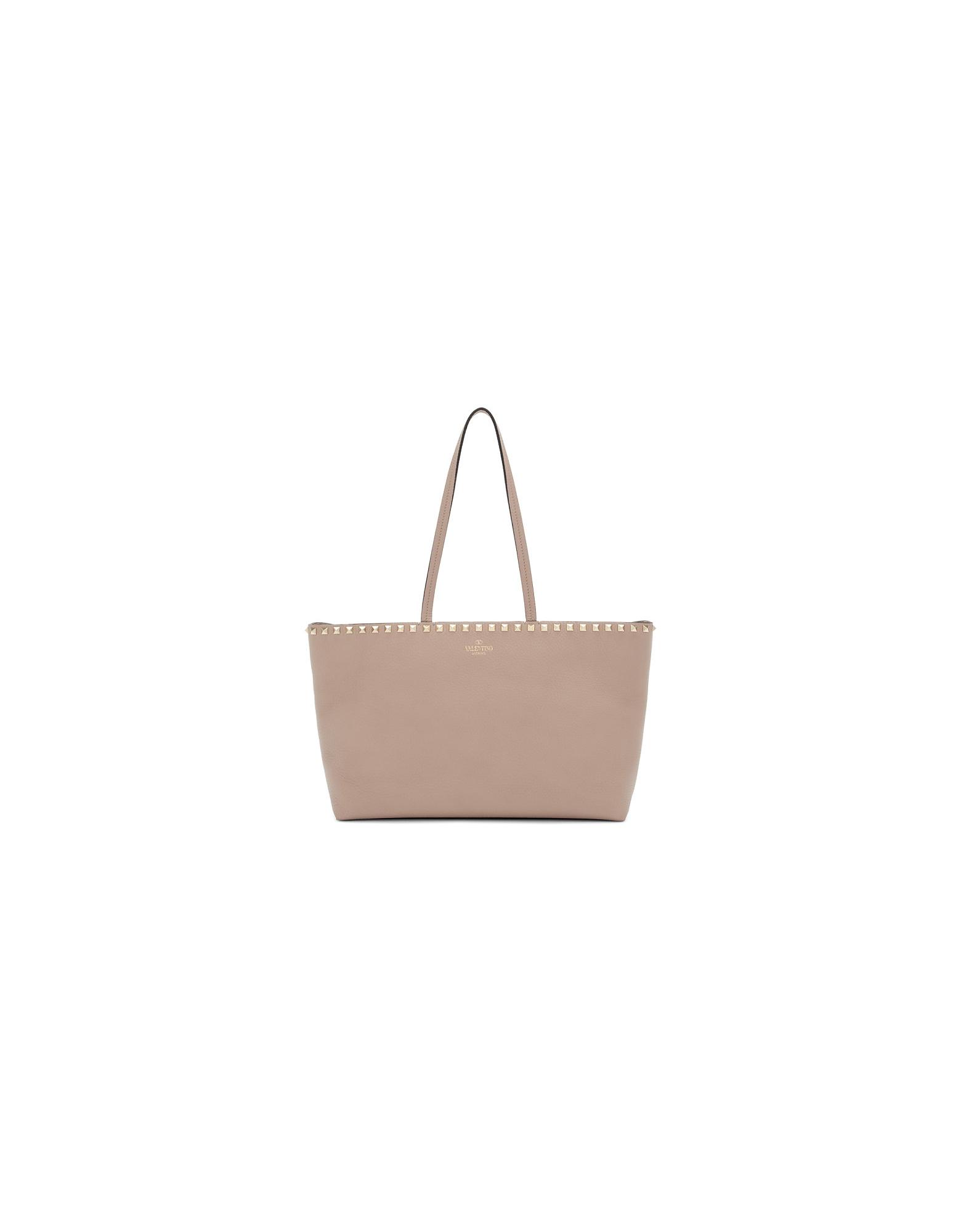 Valentino Designer Handbags, Pink Valentino Garavani Small Rockstud Shopper Tote