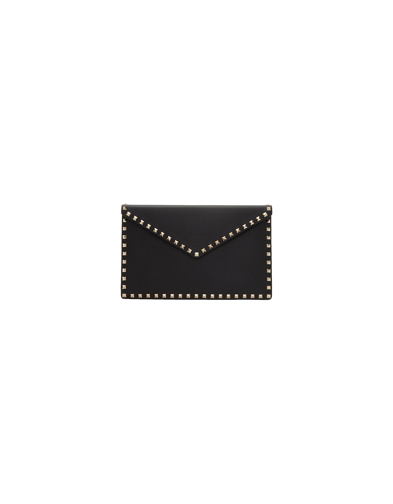 Valentino Designer Handbags, Black Valentino Garavani Large Rockstud Envelope Pouch