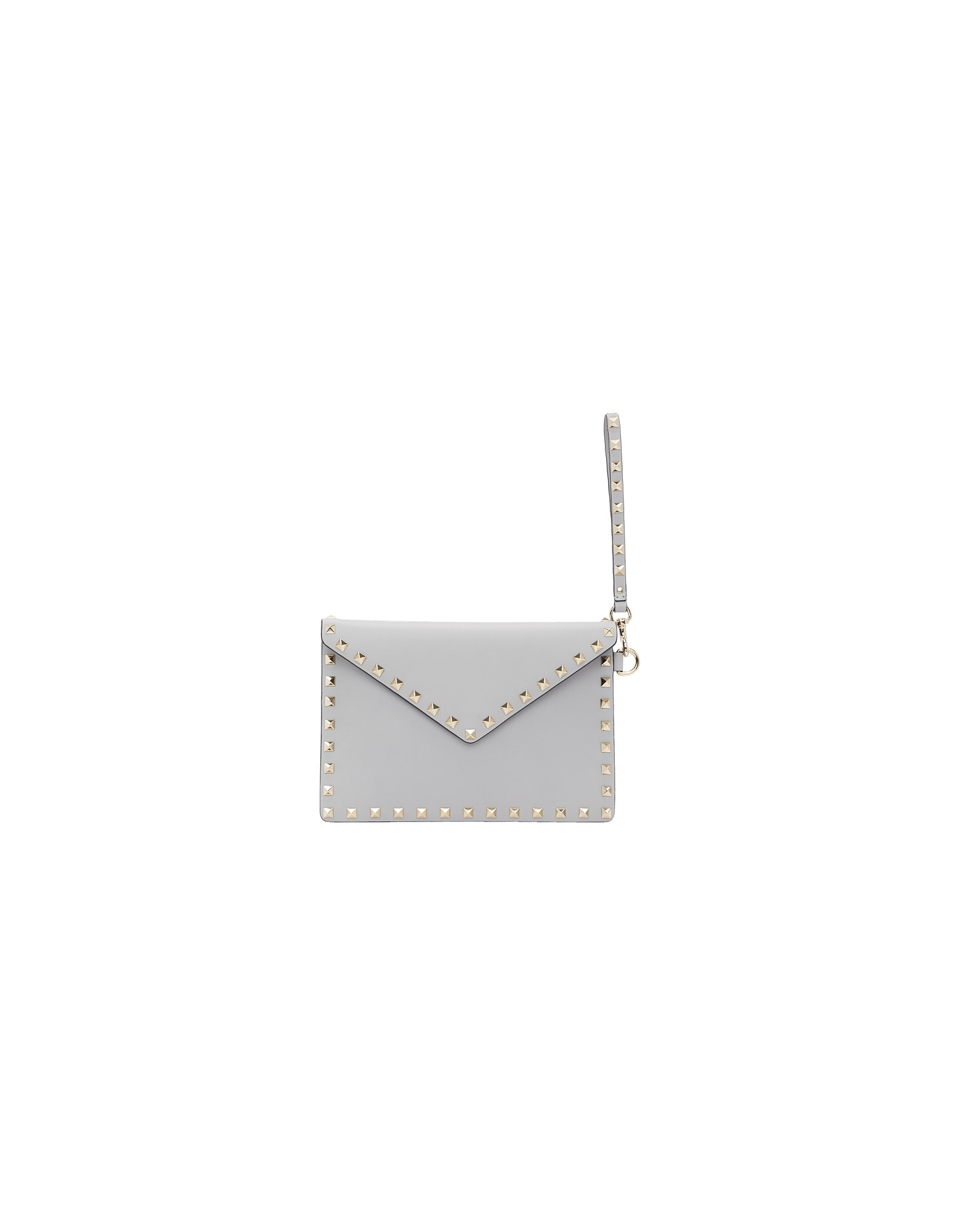 Valentino Designer Handbags, Grey Valentino Garavani Rockstud Pouch