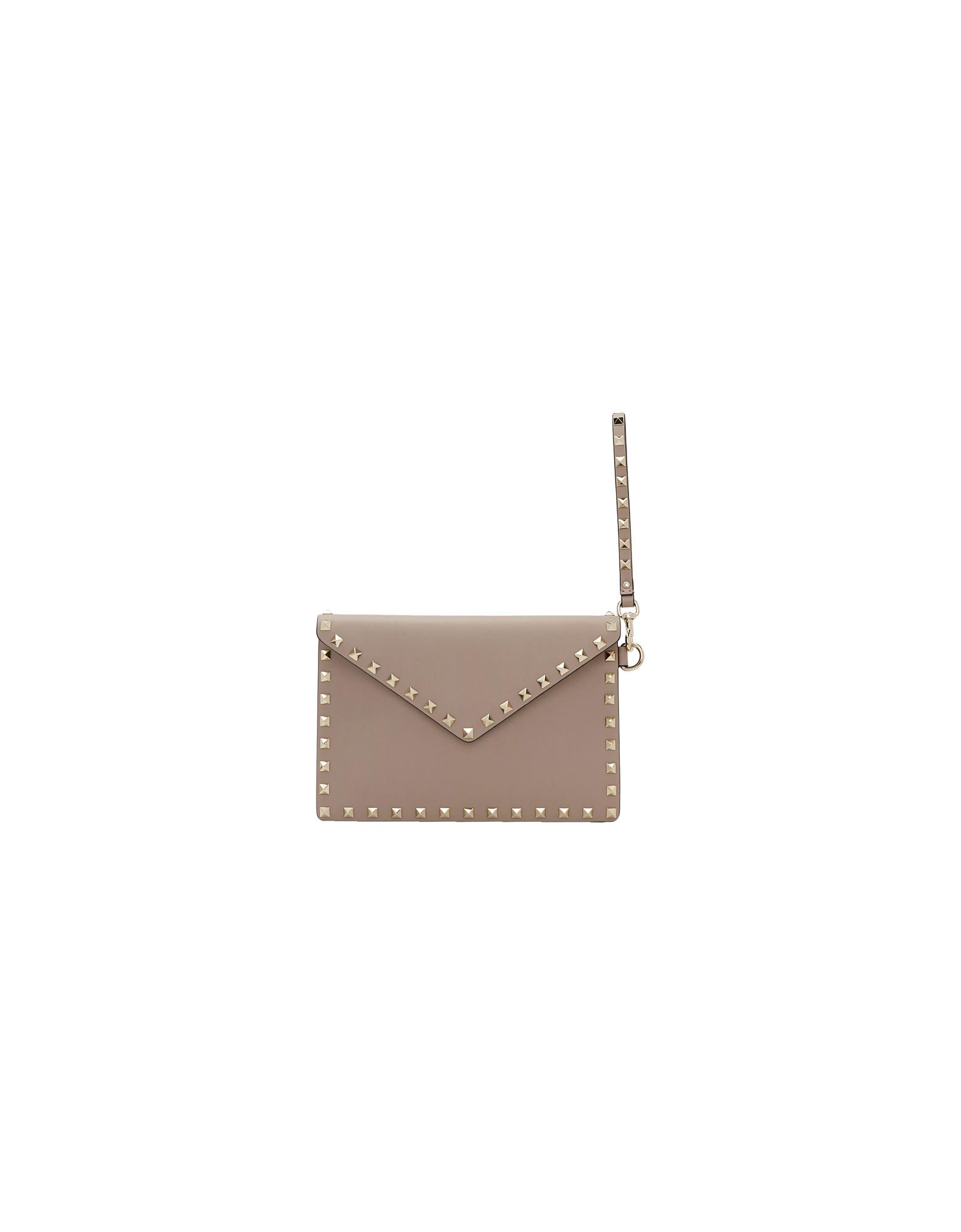 Valentino Designer Handbags, Pink Valentino Garavani Rockstud Pouch