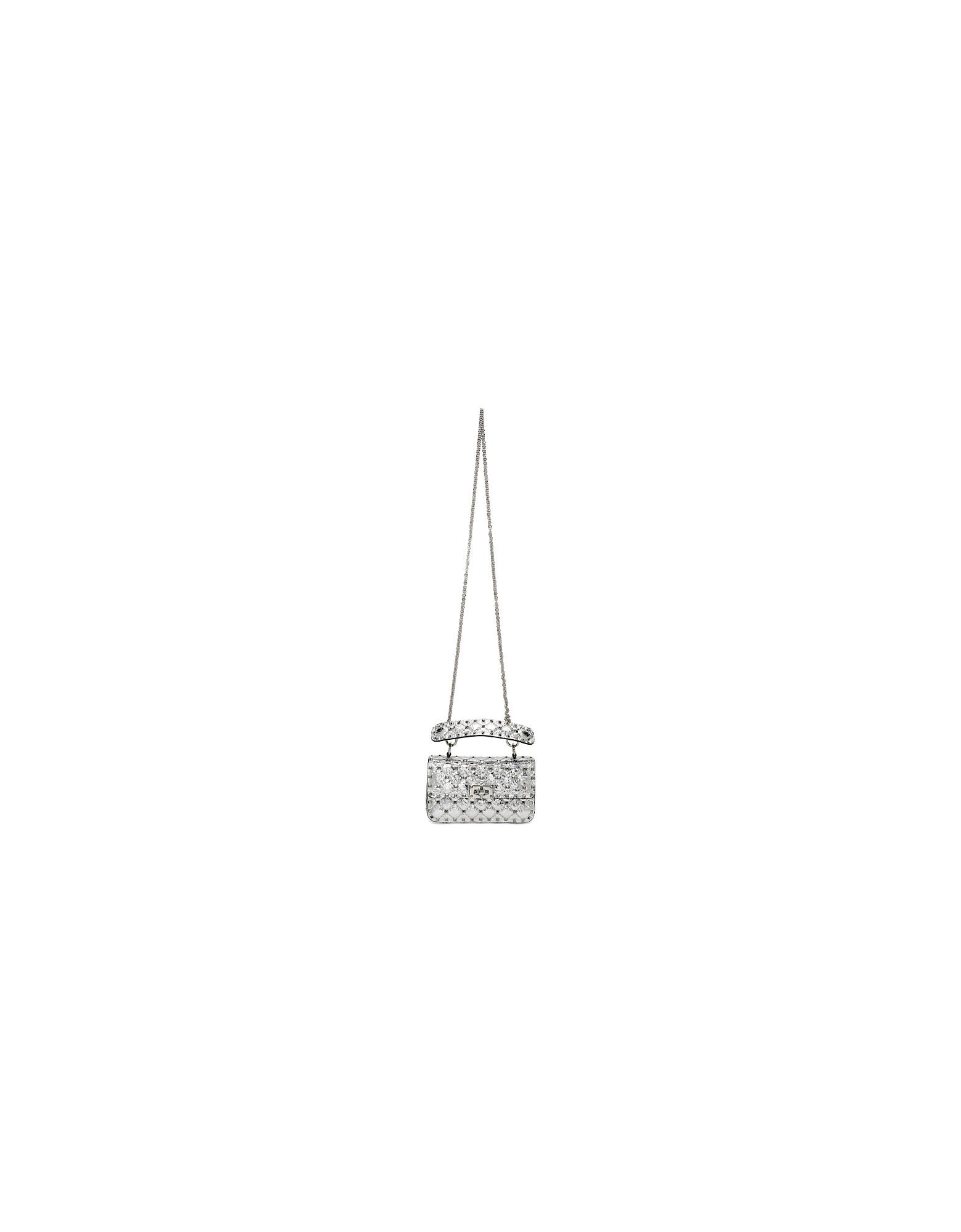 Valentino Designer Handbags, Silver Valentino Garavani Small Rockstud Spike Bag