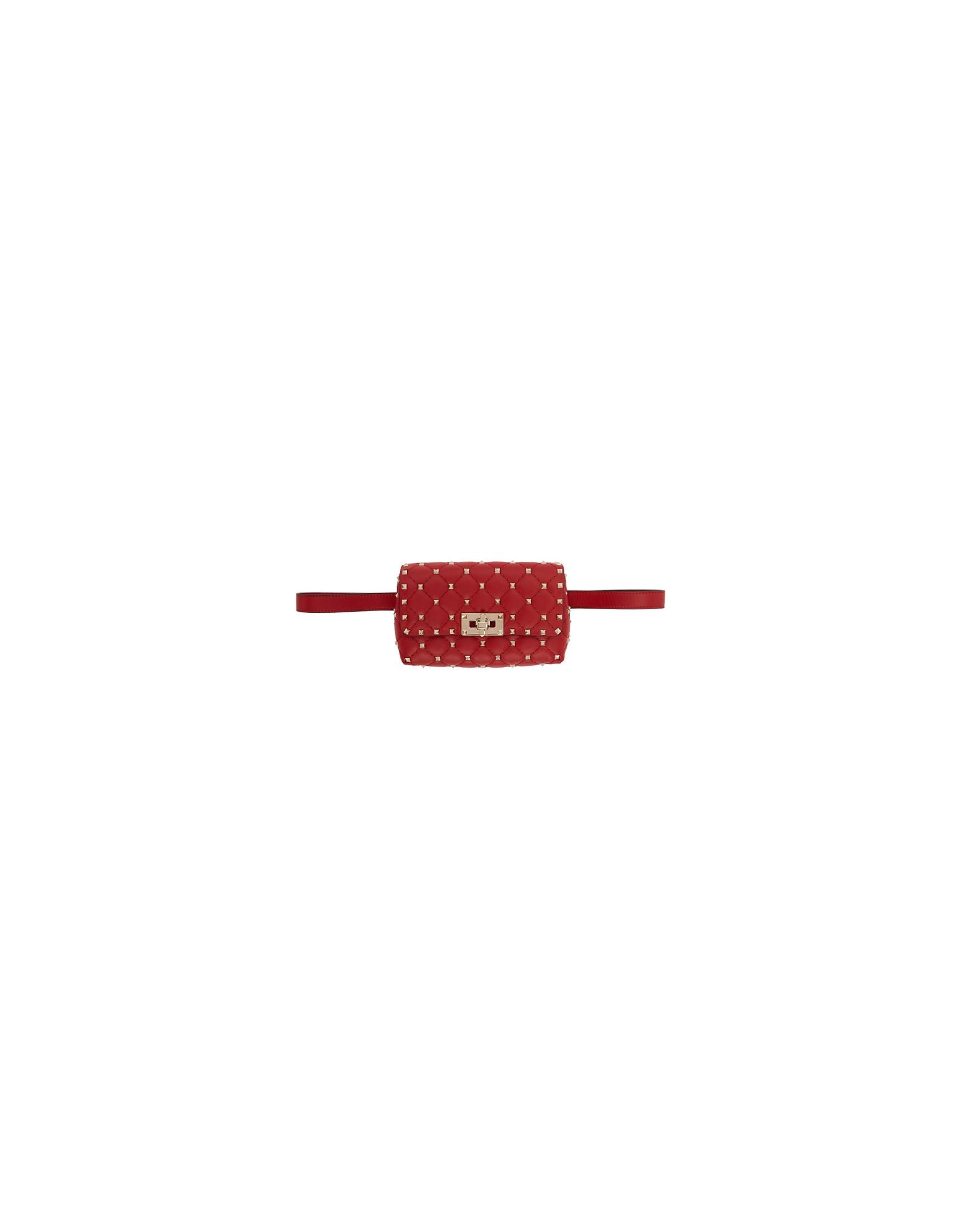 Valentino Designer Handbags, Red Valentino Garavani Rockstud Belt Bag