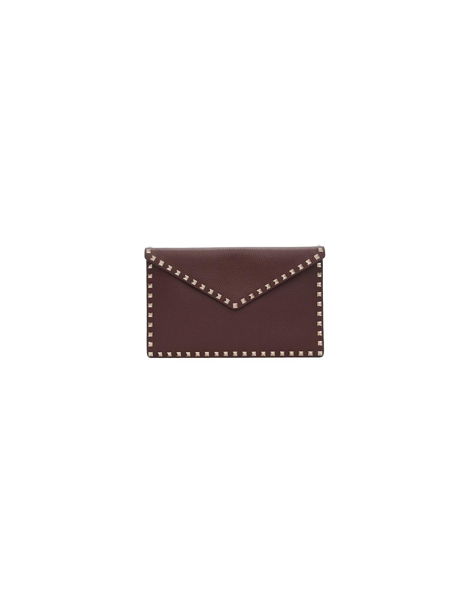 Valentino Designer Handbags, Burgundy Valentino Garavani Large Rockstud Envelope Pouch